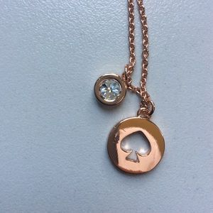 Kate Spade Spot the Spade Necklace in Rose Gold